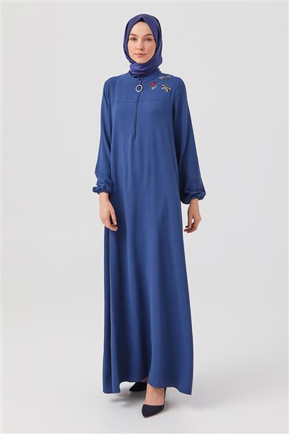 İndigo Nakışlı Ön Fermuarlı Elbise