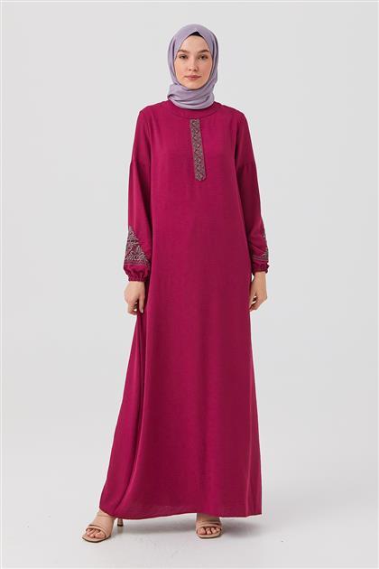 Fuşya Nakışlı Düz Kesim Elbise