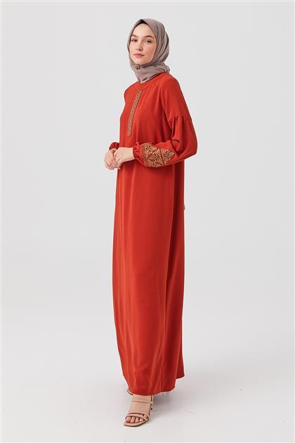 Kiremit Nakışlı Düz Kesim Elbise