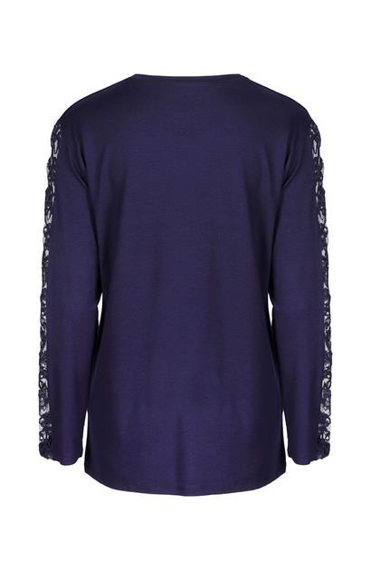 Taşlı Dantel Detaylı Penye Bluz-Lacivert 3764-LCV-L