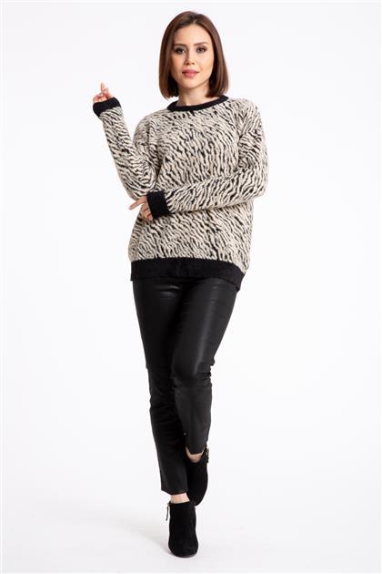 Zebra Desenli Kazak-Siyah- Bej 2793-SB-M