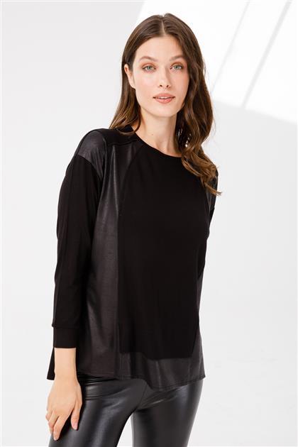 Deri Kombinli Uzun Kollu Bluz-Siyah 3942-SYH-M