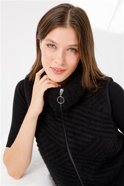 Yakalı Triko Yelek-Siyah 2838-SYH-S