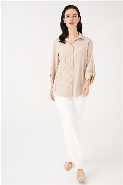 Önü Taş Detaylı Gömlek-Bej 3855-BJ-M