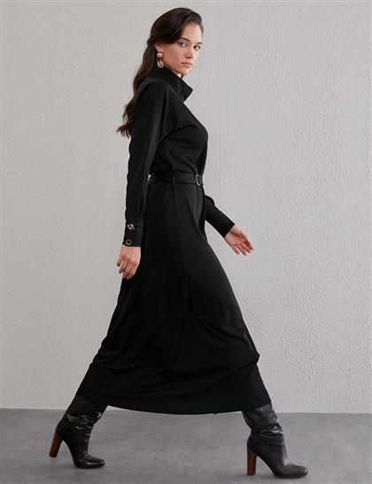 Siyah Yandan Düğme Kapamalı Elbise
