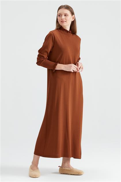 Denver Fırfır Detaylı Rayon Elbise Karamel AKK.9792.01