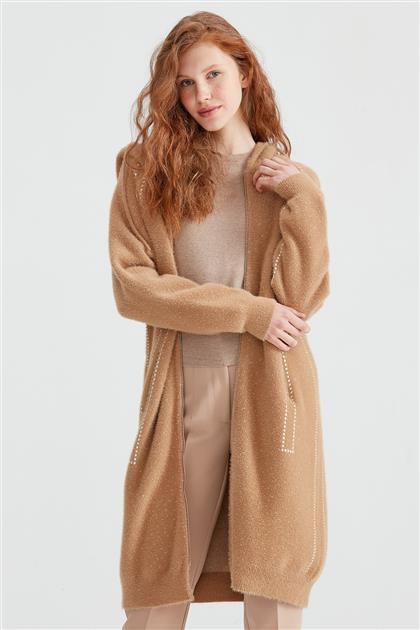Kapüşonlu Fermuarlı Triko Kaban Camel KBN.20881.1