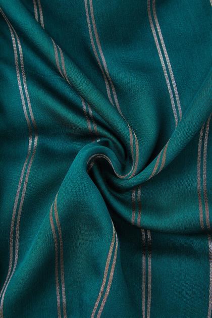 Asya Simli Düz Renk Şal-Zümrüt-Antrasit SPR02-6250