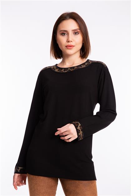 Leopar Taşlı Penye Bluz-Siyah 3835-SYH-L