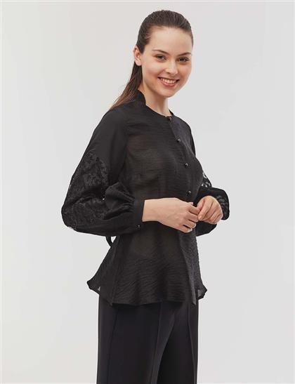 Kolları Güpürlü Peplum Bluz Siyah
