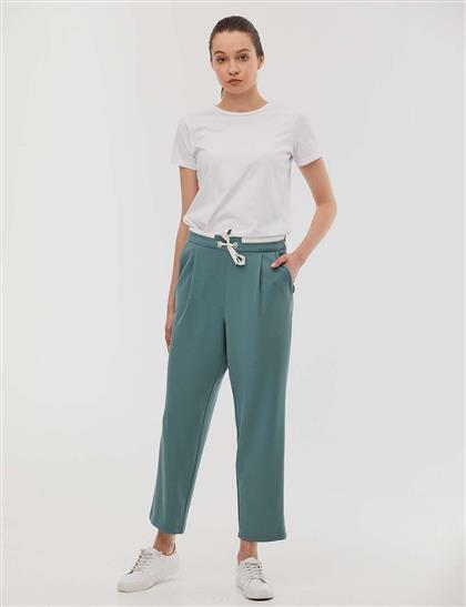 KYR Beli Bağcıklı Pileli Pantolon Su Yeşili