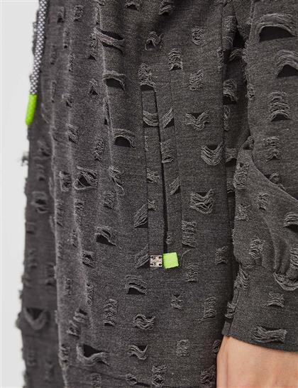 Eskitme Detaylı Kapüşonlu Sweatshirt Siyah
