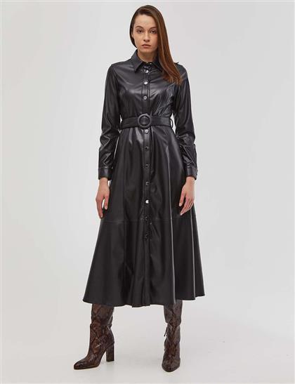 Metal Düğme Kapamalı Deri Elbise Siyah