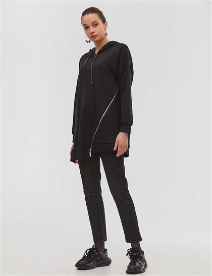 Fermuar Detaylı Kapüşonlu Sweatshirt Siyah