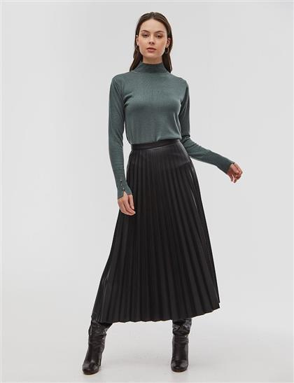 Basic Triko Bluz Küf Yeşili
