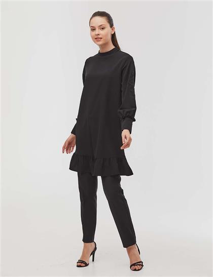 KYR İşleme Detaylı Volanlı Tunik Siyah