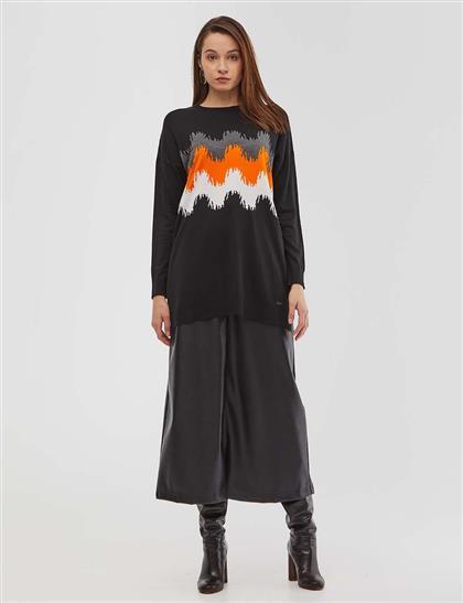 Soyut Desenli Triko Tunik Siyah