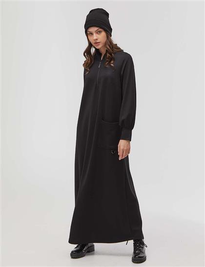 Yarım Fermuarlı Tam Boy Elbise Siyah
