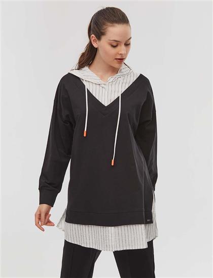 KYR Çizgili Katmanlı Sweatshirt Siyah