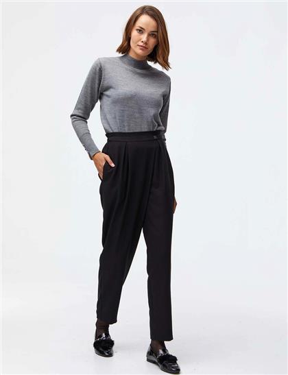 Geniş Plili Klasik Kesim Pantolon Siyah A21 19035