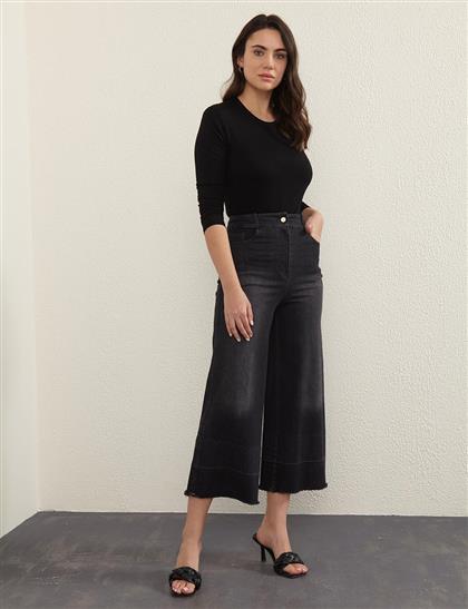 Taşlanmış, Püsküllü Bol Paça Denim Pantolon Siyah A20 19100