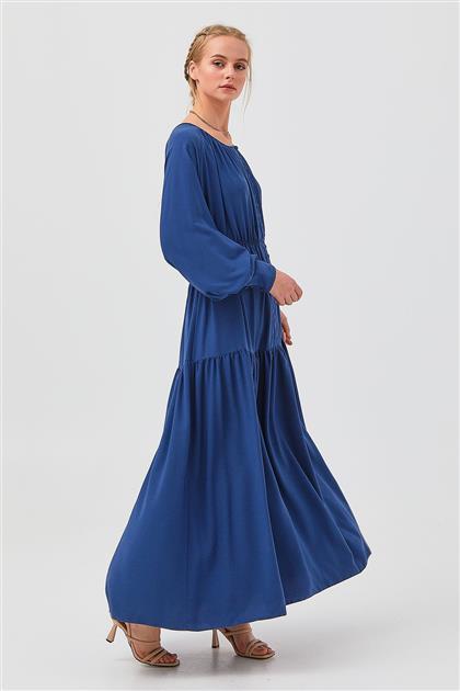 İndigo Maksi Kol Detaylı Katlı Elbise