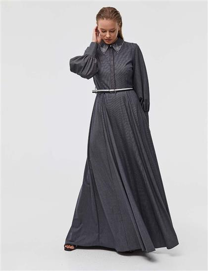 Yakası İşlemeli Balon Kol Maksi Elbise Lacivert