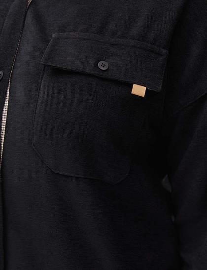 Fitilli Kadife Uzun Tunik Siyah