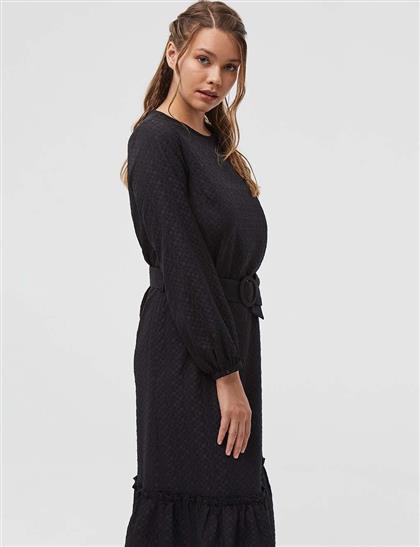 Gofreli Uzun Elbise Siyah