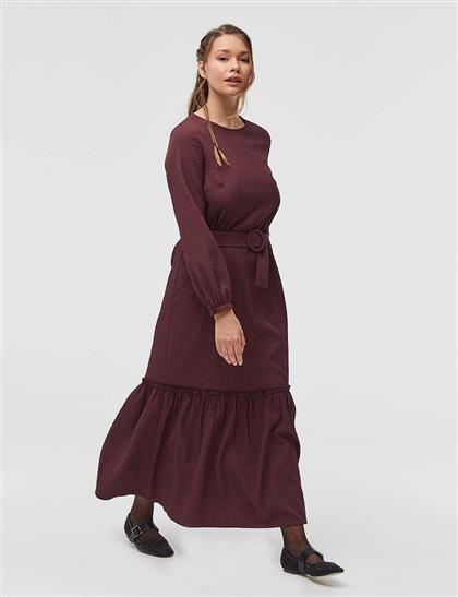 Gofreli Uzun Elbise Bordo