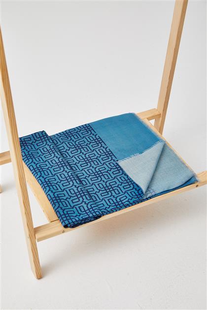 Dijital Labirent Desen Soft Şal-Mavi SPR11-69