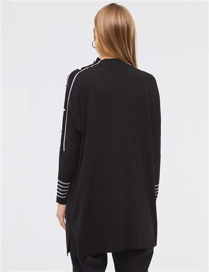 Şeritli Dik Yaka Triko Tunik Siyah