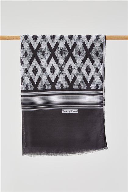 Dijital Baklava Desen Soft Şal-Siyah SPR07-01