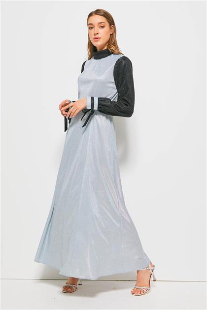 Mavi Simli Kemerli Elbise