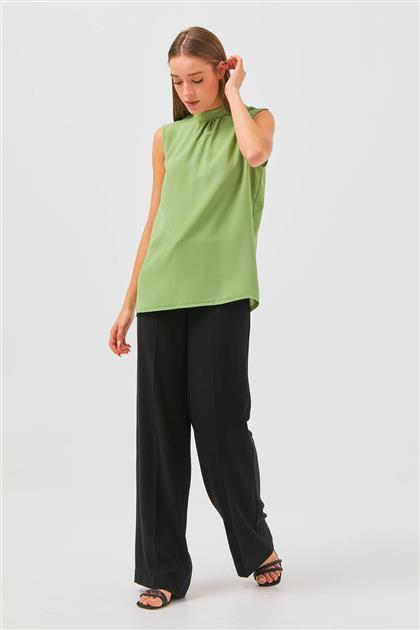 Büzgülü Kolsuz Bluz-Yeşil 2624.BLZ.335.1-21