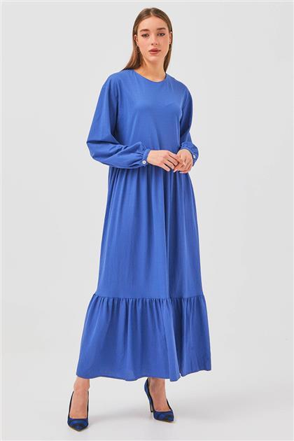 Büzgülü Elbise-Mavi 2736.ELB.541.1-70