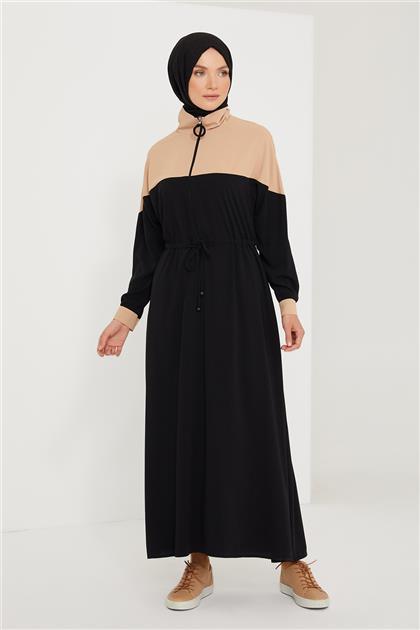 Armine Belden Büzgülü Elbise 21K9300 Siyah