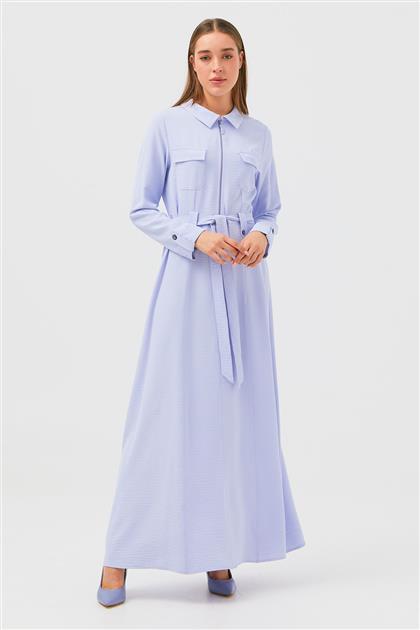 Açık Mavi Önü Cepli Manşet Ve Kemeri Apoletli Elbise