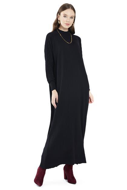 ZÜHRE Yarım Balıkçı Yaka ve Kol Örgü Detaylı Uzun Siyah Triko Elbise E-0296 Z21KBE-0096ELB1001-R1210