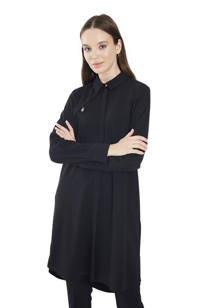 ZÜHRE Kol Düğme Detaylı Uzun Siyah Tunik T-1136 Z21KBT-1136TN10001-R1210