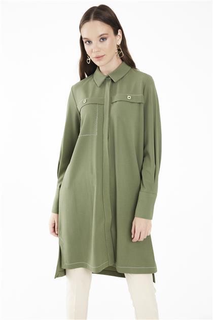 ZÜHRE Gömlek Yaka Uzun Kollu Yeşil Tunik T-1098 Z21KBT-1098TN10002-R1294