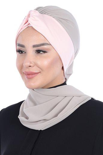 Ayşe Tasarim إيشارب-بني مينك-لون البودرة HT-0055-4-7
