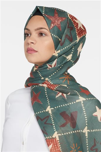 Kayra Shawl-Green KA-B9-SAL14-25