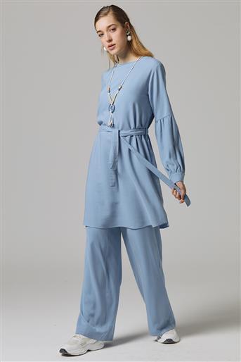 Pantolon Kolu Büzgülü Takım-Mavi TK-U6002-32