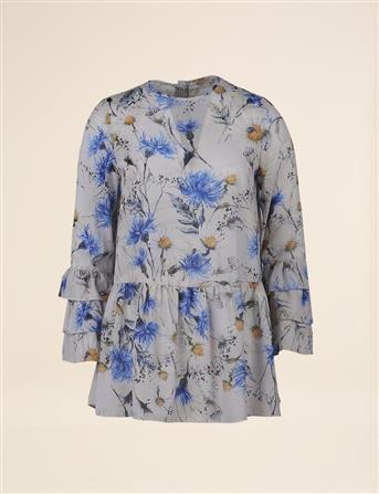 Bahar Desenli Volanlı Bluz Saks B8 10073
