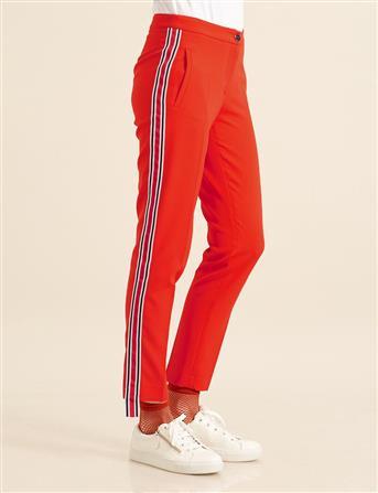 Şeritli Boru Paça Pantolon Kırmızı B8 19052