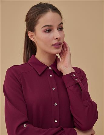 Kuşaklı Gömlek Yaka Elbise Bordo A9 23026A