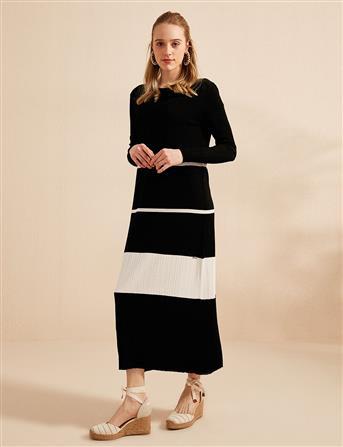 Parçalı Uzun Triko Elbise Siyah B20 TRK13