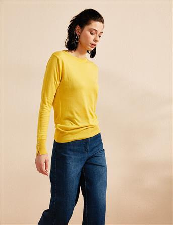 Kolları Düğme Detaylı Triko Bluz Sarı B20 TRK05