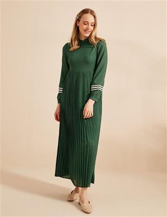 KYR Kolları Fistolu Eteği Pileli Elbise Yeşil B20 83010